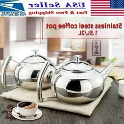 1.5/2L Stainless Steel Teapot Stovetop Coffee Pot Infuser Fi