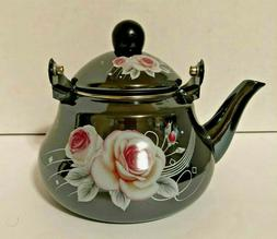 1.5 L  Tea Pot  Enamel Coated Kettle Water with floral desig