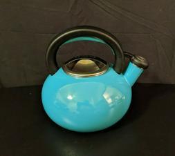 "Circulon 1.5 Quart ""Whistling"" Tea Kettle Turquoise Enamel"