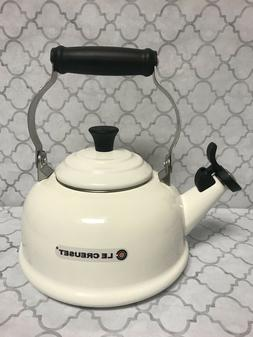 Le Creuset 1.6 QT/1.6L Whistling Tea Kettle Teapot White New