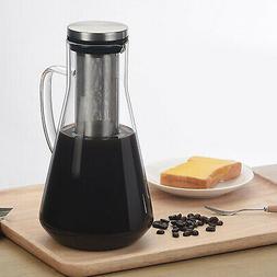 1.6L Glass Teapot French Coffee Tea Kettle Manual Coffee Esp