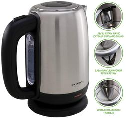 Ovente 1.7 Liter Bpa-Free Stainless Steel Cordless Tea Elect