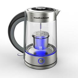 Hamilton Beach 1.7 Liter Electric Glass Kettle With Tea Stee