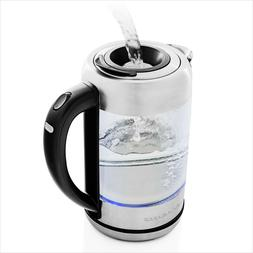 Ovente Easy Electric Glass Hot Water Kettle Prontofill 1.7 L