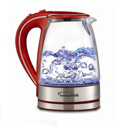 1.7L BRENTWOOD TEMPERED GLASS TEA KETTLE REMOVABLE FILTER BO