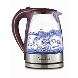 BRENTWOOD 1.7L TEMPERED GLASS TEA KETTLE REMOVABLE FILTER BO