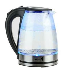 ZOKOP 1.8 Liter Glass Electric Tea Kettle Blue LED Light Fas