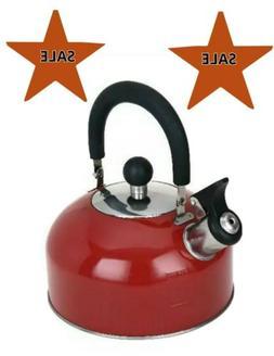1.8 Liter Whistling Tea Kettle Red Stainless Steel For Tea C