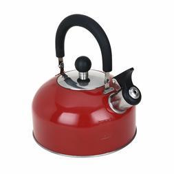 1.8 Liter Whistling Tea Kettle, Red Stainless Steel Kitchen