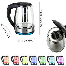 1.8L Electric Glass Kettle 304 Heating Plate w/ Mesh Filter