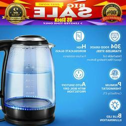 1.8L Electric Kettle Glass Portable Water Boiler LED Illumin