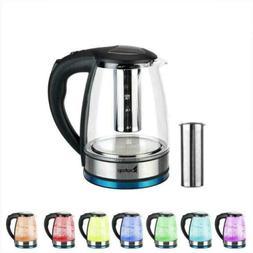 ZOKOP 1.8L Glass Electric Tea Kettle LED Light Fast Boiling