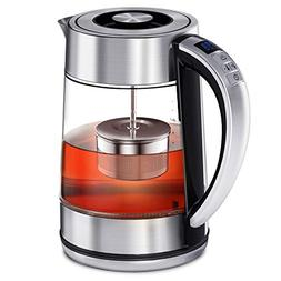 CISNO 2 in 1 Electric Tea Kettle With Infuser, Glass and Sta