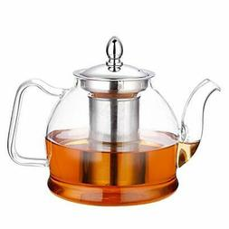 Hiware 1000ml Glass Teapot with Removable Infuser, Stovetop