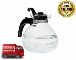 12 CUP Glass Stovetop WHISTLING TEA KETTLE & LID METAL BPA F