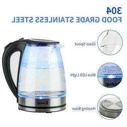 1500W 1.8L Electric Glass Kettle Coffee Tea Water Boiler Fas