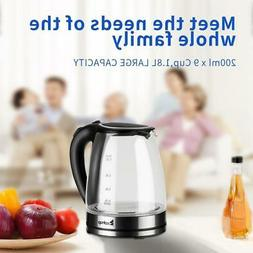ZOKOP 1500W 1.8L Glass Electric Tea Kettle Blue LED Light Fa