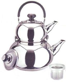 18/10 STAINLESS STEEL TURKISH SAMOVAR STYLE DOUBLE TEA KETTL