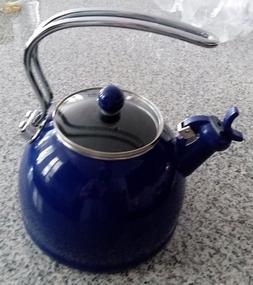 RESTON LLOYD 2.5 QT WHISTLING TEA KETTLE PORCELAIN ENAMEL ON