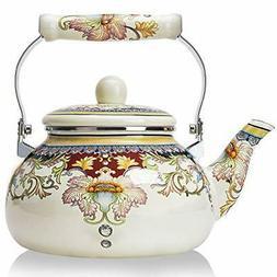 2.5 Quart Enamel on Steel Teapot floral Large Porcelain Enam