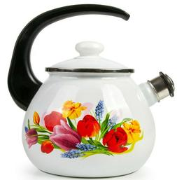 2.7-Qt White Enamel Kettle with Flowers Decal w/ Whistle, St