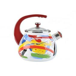 2.7-Qt White Enameled Kettle with Abstract Pattern w/ Whistl
