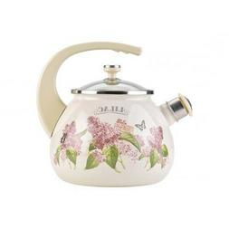 2.7-Qt White Enameled Kettle with Lilac Flowers w/ Whistle,