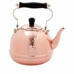 Old Dutch 2 qt. Solid Copper Hammered Tea Kettle with Wood H
