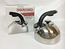 2 qt whistling tea kettle polished stainless