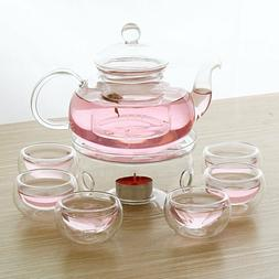28 OZ Glass Filtering Tea Maker Teapot with a Warmer and 6 T