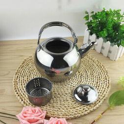 2x Stainless Steel Coffee Tea Kettles Pots with Tea Leaf Fil