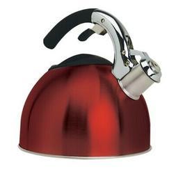 3 Qt Soft Grip Whistling Tea Kettle Red
