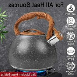 3 Quart Whistling Tea Kettle - Modern Stainless Steel Whistl