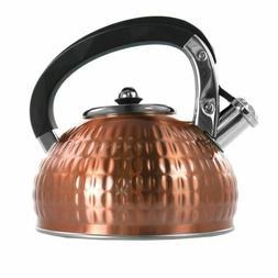 MegaChef 3L Stovetop Whistling Tea Kettle in Copper Hammered