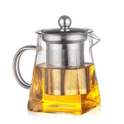 3Sizes Good Clear Borosilicate Glass Teapot With 304 Stainle