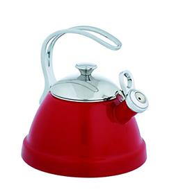 Copco 5213771 Beaded Enamel-on-Steel Tea Kettle, 2-Quart, Re