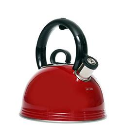Copco 5262941 2.1 Quart Whistling Tea Kettle, Glossy Red Fin