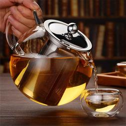 600/950/1300ml Glass Stainless Steel Teapot with Infuser Fil