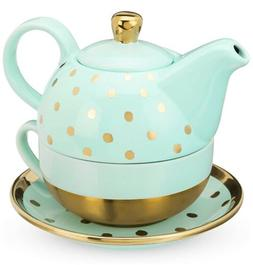Pinky Up 7650 Addison Aqua Gold Dot Tea Set For 1 One New Fr