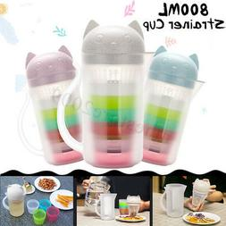 800ml Portable Cat Strainer 4Cup Bottle Tea Kettle Juice Dri