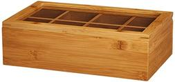 8189 Bamboo Tea Box-8 compartment with Acrylic & Bamboo Lid