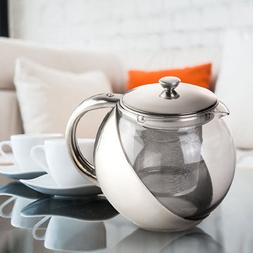 900ML Stainless Steel Glass TeaPot With Tea Leaf Strainer Fi