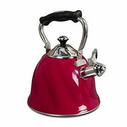 Gibson Alderton 2.3 quart Whistling Tea Kettle, Red