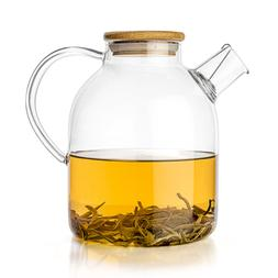 Glass Kettle Teapot Pitcher, Cold Juice - Heat Resistant w/S