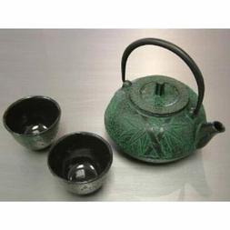 Happy Sales HSCT-BMG04, Cast Iron Tea Pot Tea Set Green Bamb