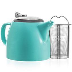 Tealyra - Drago Ceramic Small Teapot Turquoise - 22oz  - Wit