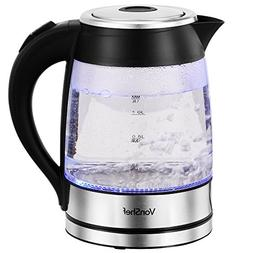 VonShef 1.8L Illuminating Kettle 1500W Blue LED Clear Glass