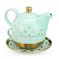 Addison Aqua Gold Dot Tea for One Set by Pinky Up