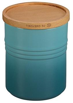"""Le Creuset of America 5 1/2"""" Canister with Wood Lid, 2 1/2 q"""