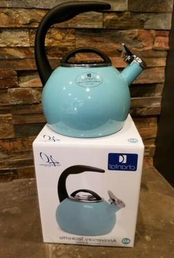 Chantal ANNIVERSARY Sky Blue Aqua Enamel on Steel Teakettle